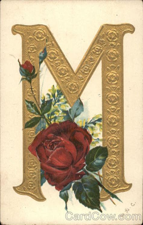 """Gold letter """"M"""" and red rose Alphabet Letters"""