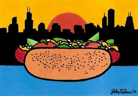 A real Chicago hot dog! (ink, watercolor and gouache on