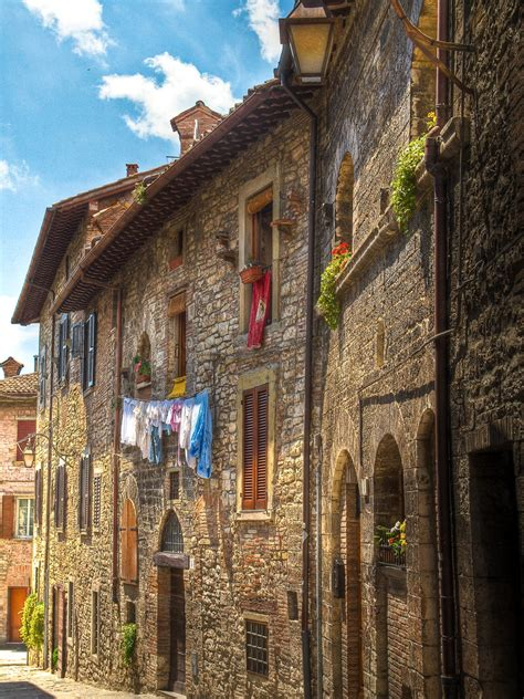 Old houses in the medieval walled town of Gubbio, Italy