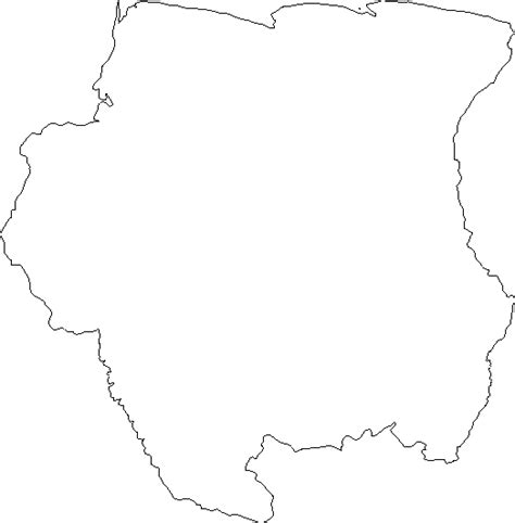 Blank Outline Map of Suriname