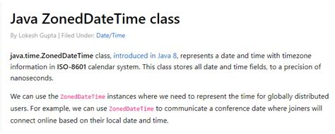 Java ZonedDateTime class - create, parse and format examples