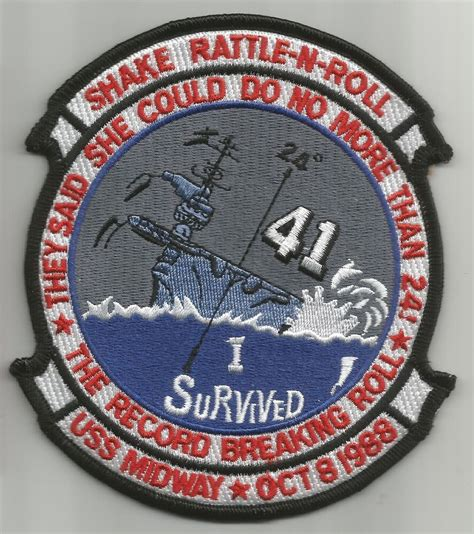 """USS MIDWAY CV-41 """"I SURVIVED 24 DEGREE ROLL SHAKE RATTLE N"""