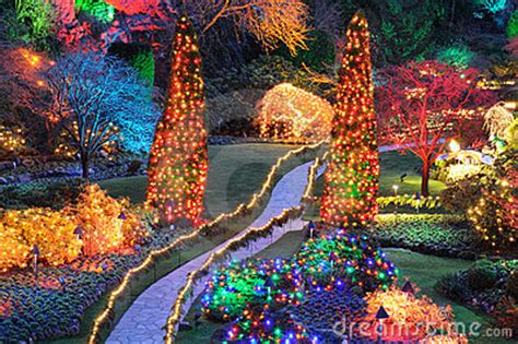 Christmas Lights In Butchart Gardens Stock Images - Image