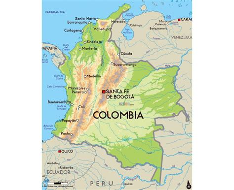 Colombia map - Map Colombia (South America - Americas)
