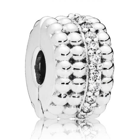 Beaded silver PANDORA Clip with clear cubic zirconia